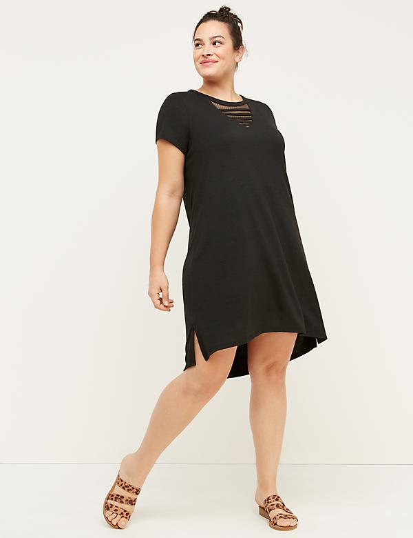 Mesh V-Neck Active Dress - Black