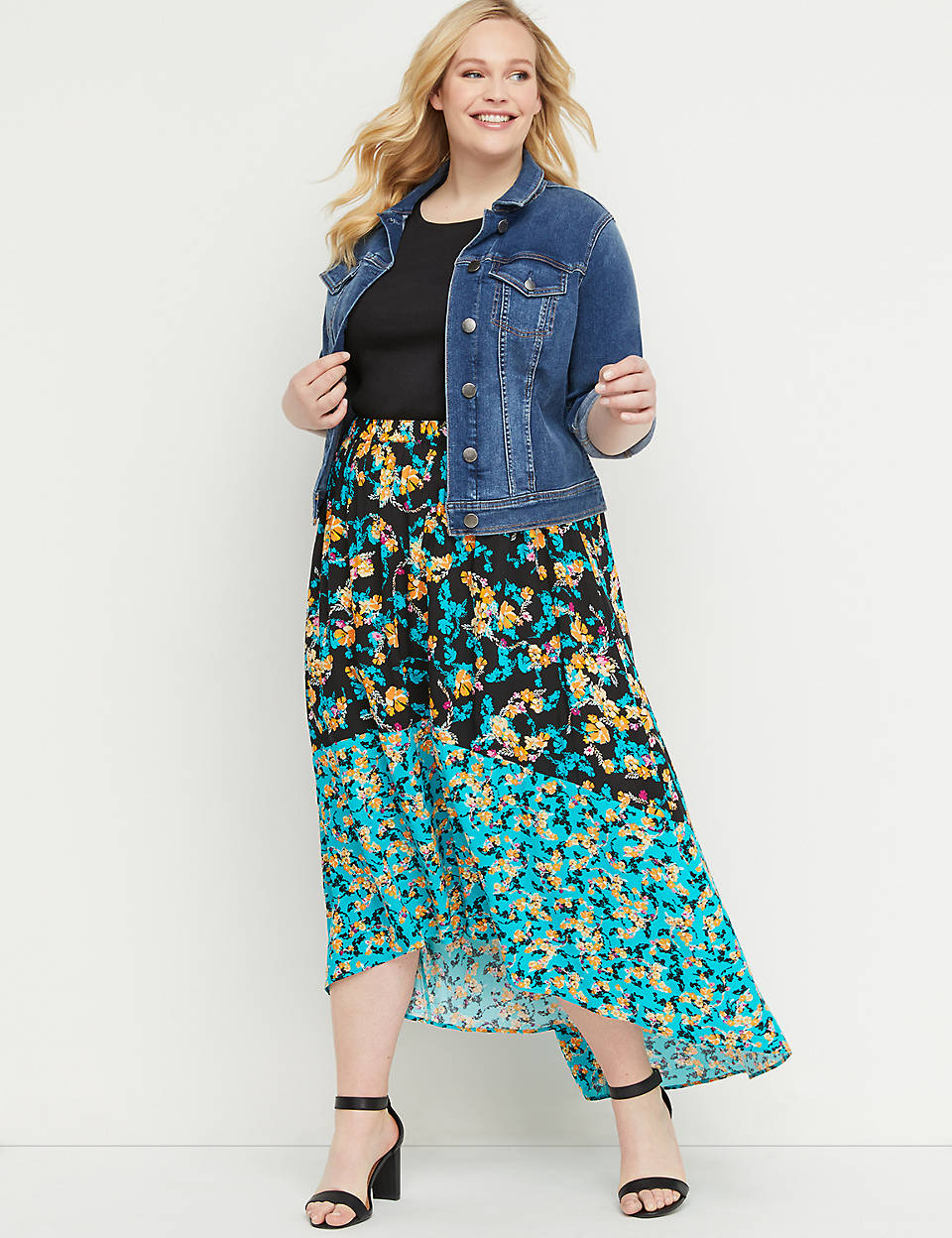 5a67fd5da5b Floral High-Low Maxi Skirt