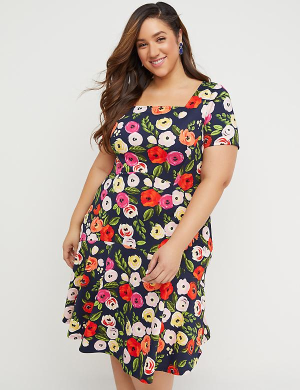 Floral Square-Neck Scuba Fit & Flare Dress