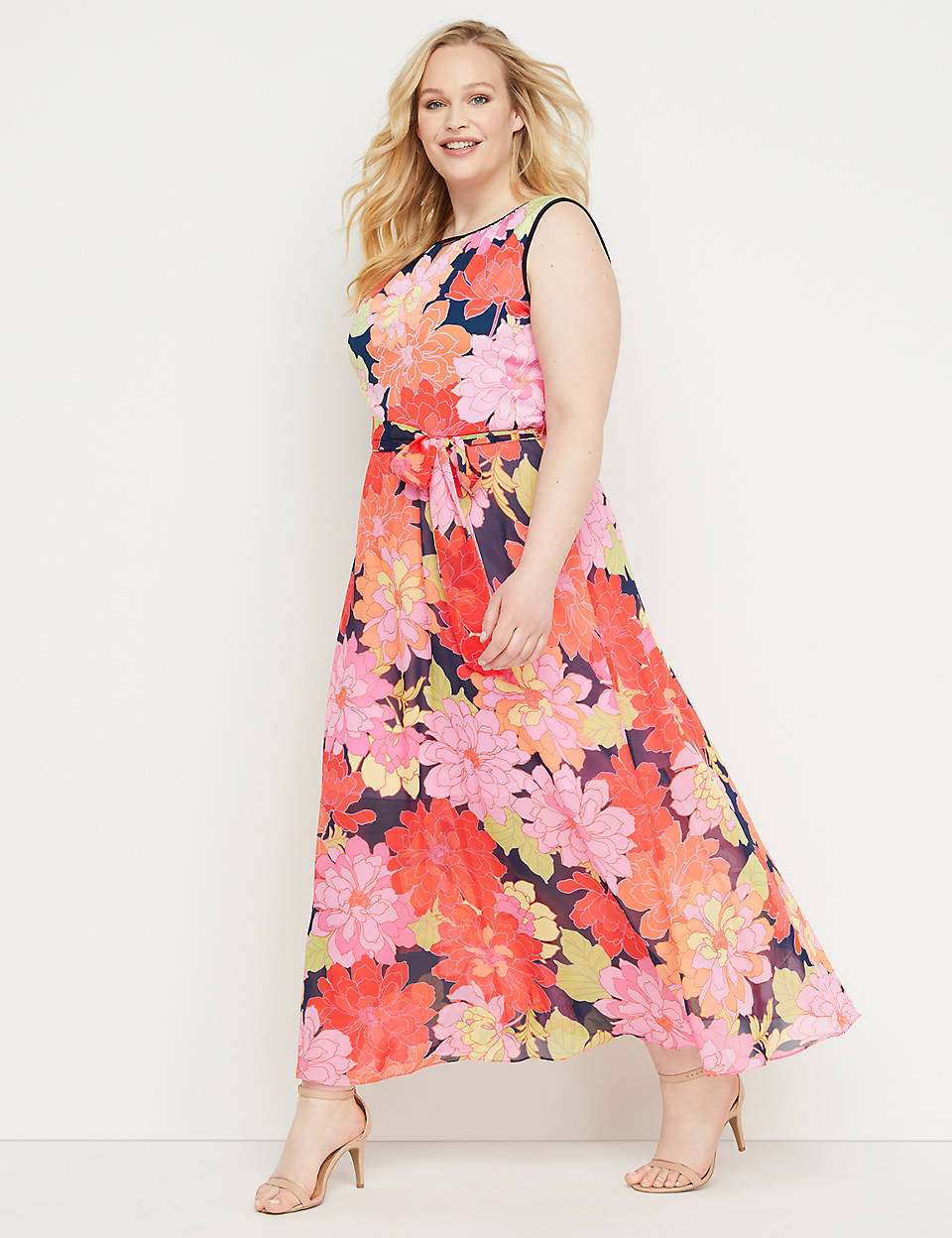 2a92b96c1ee5 Floral Chiffon Fit & Flare Maxi Dress | Lane Bryant