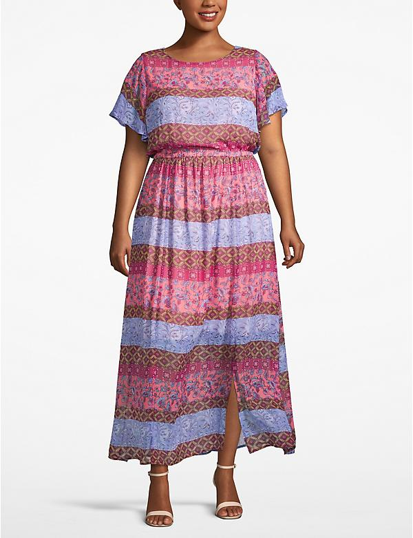 Printed Flutter Sleeve Maxi Dress