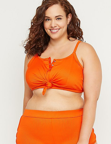 Snap & Knot Longline Swim Bikini Top with No-Wire Bra