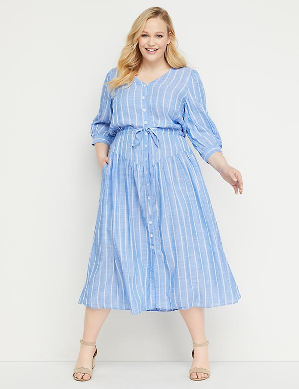 339b9838226 Striped Button-Front Fit   Flare Midi Dress