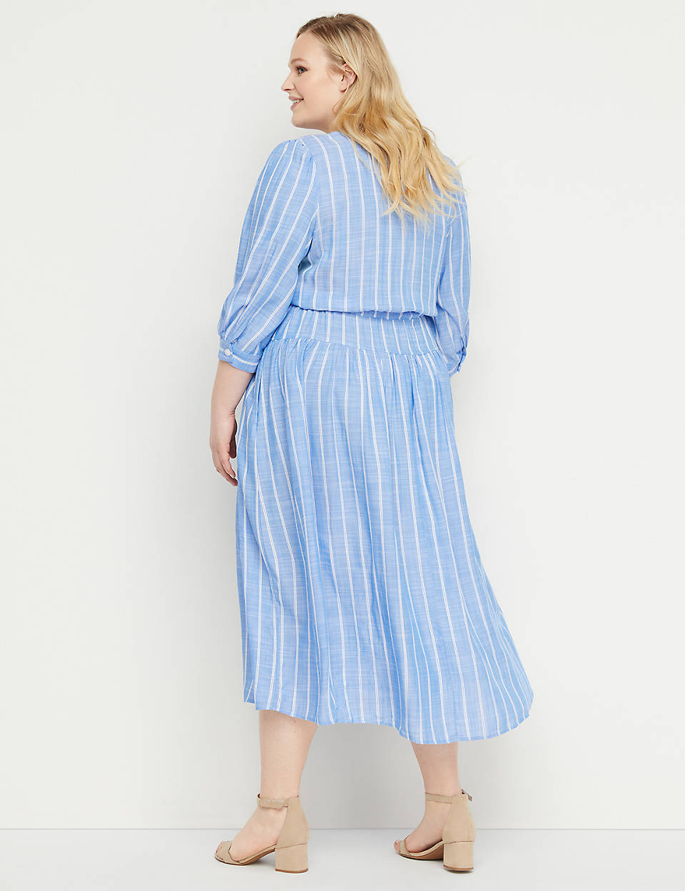 0fc459d2c49 Striped Button-Front Fit   Flare Midi Dress