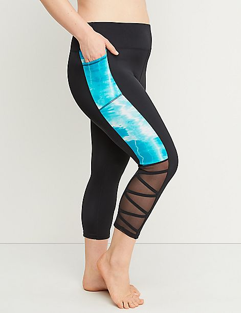 Cacique Sport Swim Capri Legging - Strappy Mesh Ankle