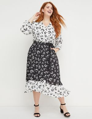 4077a44e673 A true wrap dress in a mixed floral print from the Beauticurve X Lane  Bryant collection. Lightweight woven crepe fabric. Wrap-style V-neck.
