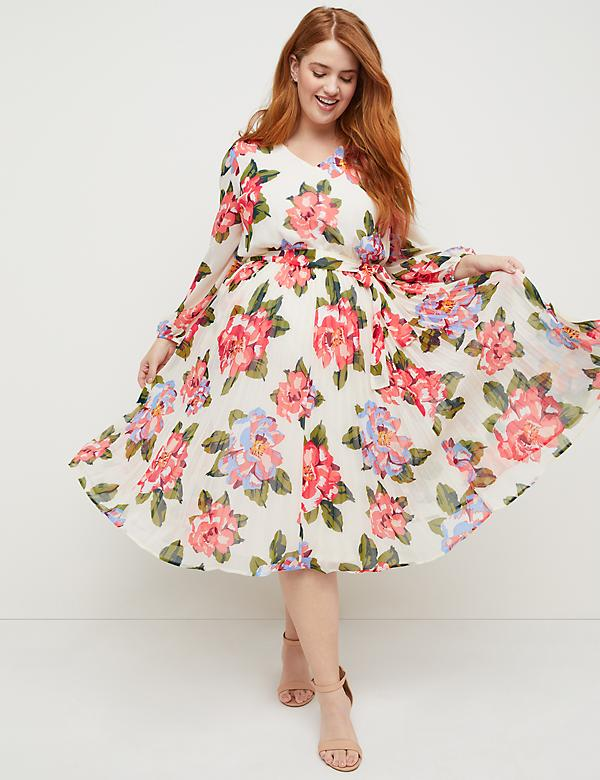 Beauticurve Floral Pleated Midi Dress