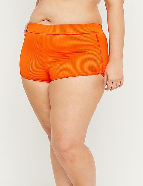 Ribbed Swim Short - Faux-Snap Trim