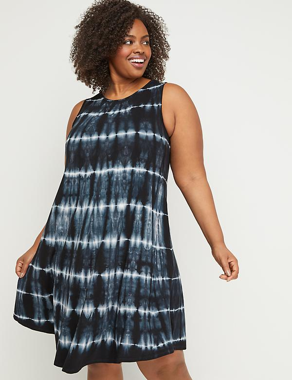 Tie-Dye Sleeveless Swing Dress