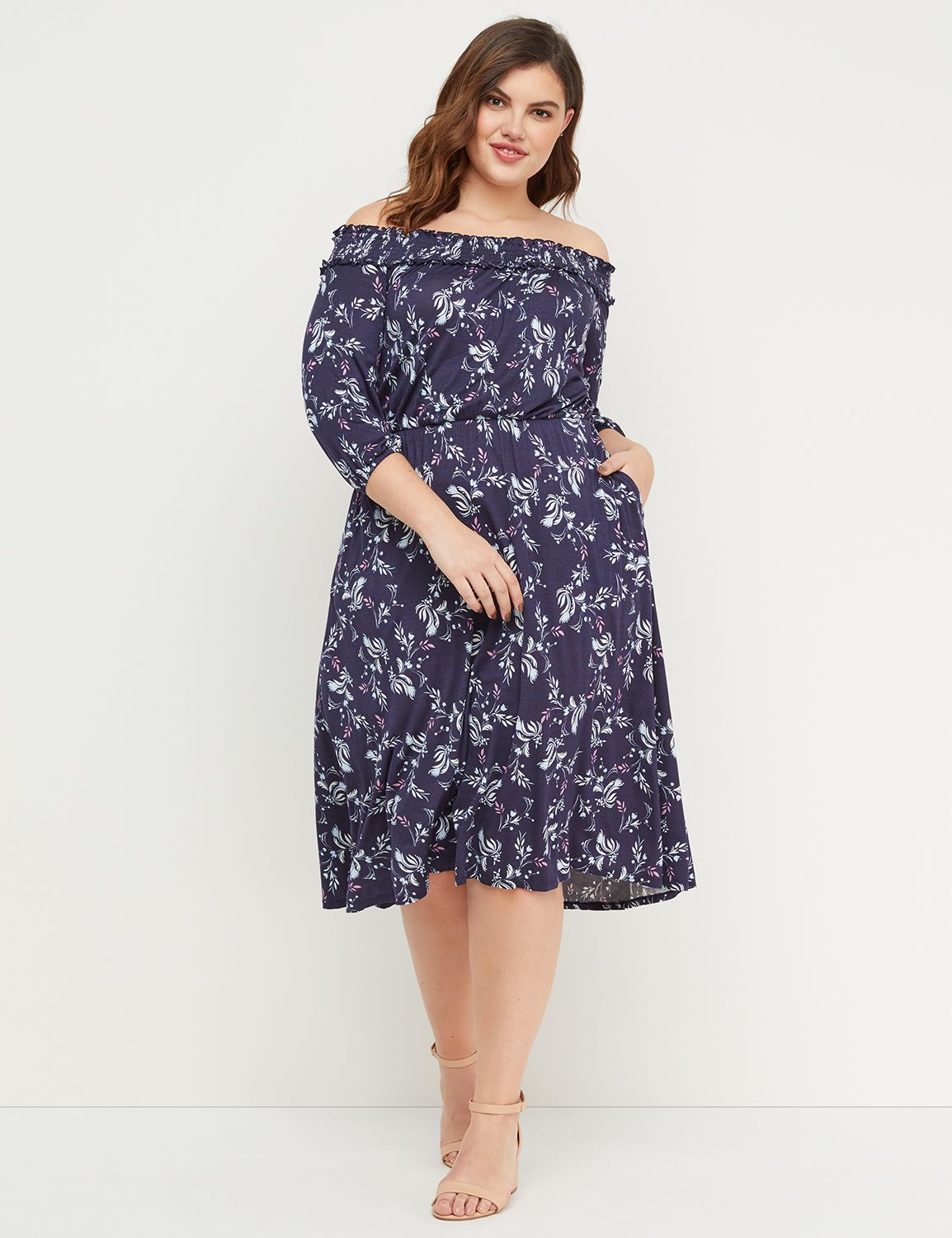 Petite Floral Off-the-Shoulder High-Low Midi Dress