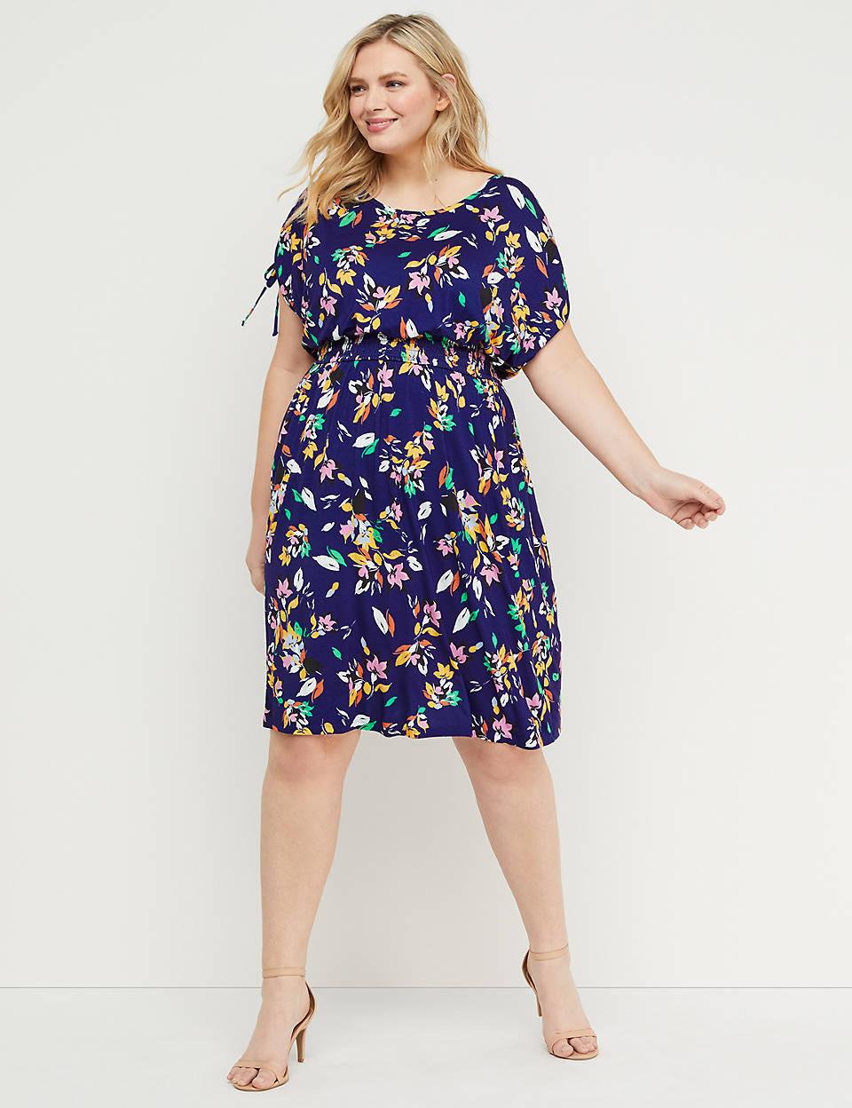 2767b1525a5 Floral Ruched-Shoulder Midi Dress