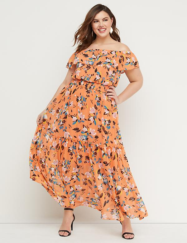692abf249e401 Floral Off-the-Shoulder Smocked Maxi Dress