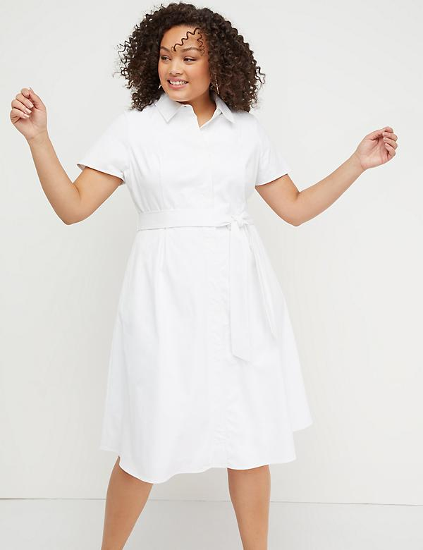 Belted Button-Front Poplin Dress