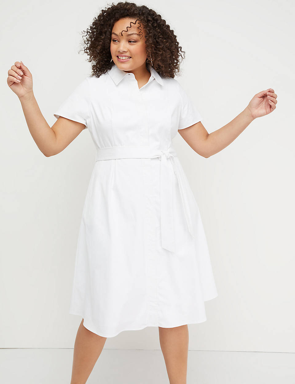 c3bdf79f005 Belted Button-Front Poplin Dress
