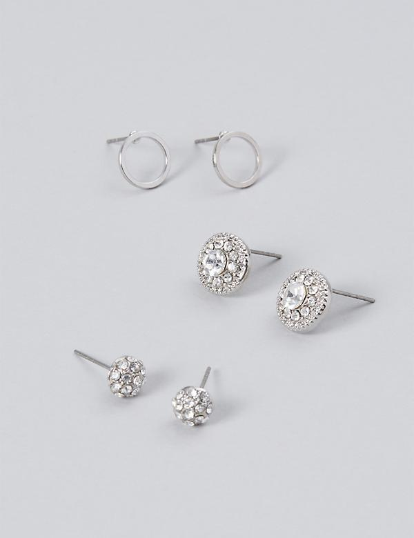 Fireball & Stone Stud Earrings 3-Pack