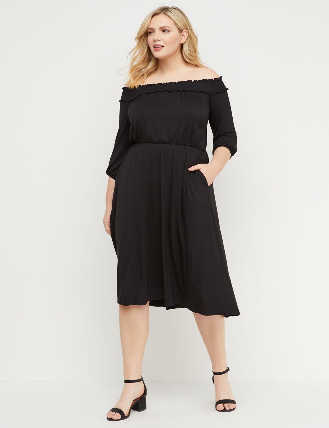 Petite Off-the-Shoulder High-Low Midi Dress