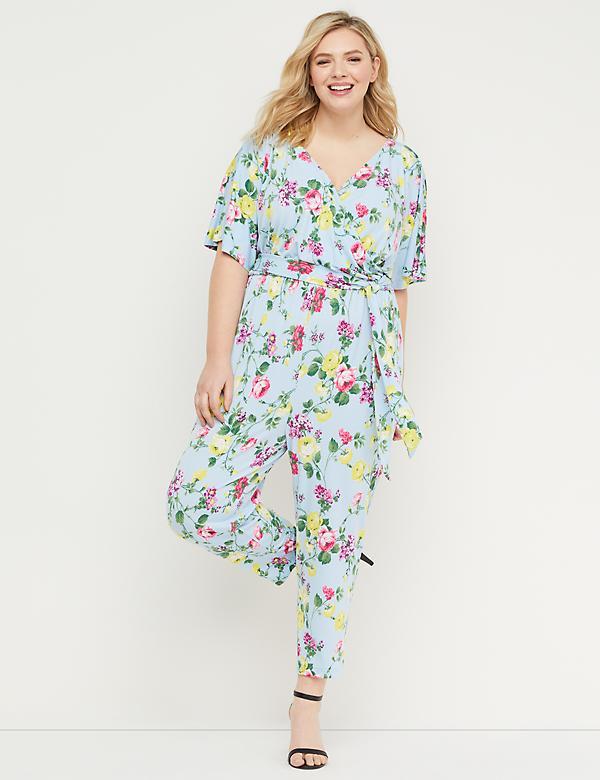 dc118fe15192 Floral Dolman-Sleeve Jumpsuit