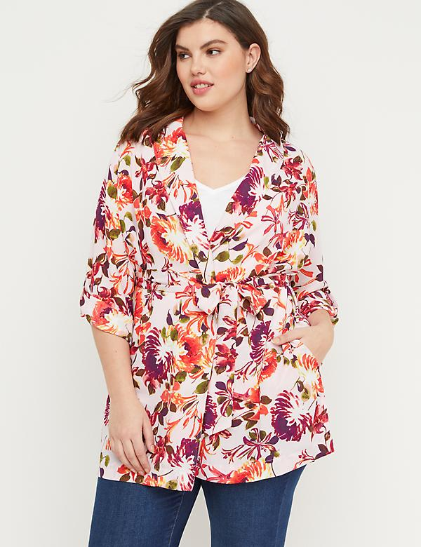 Floral Crepe Belted Kimono