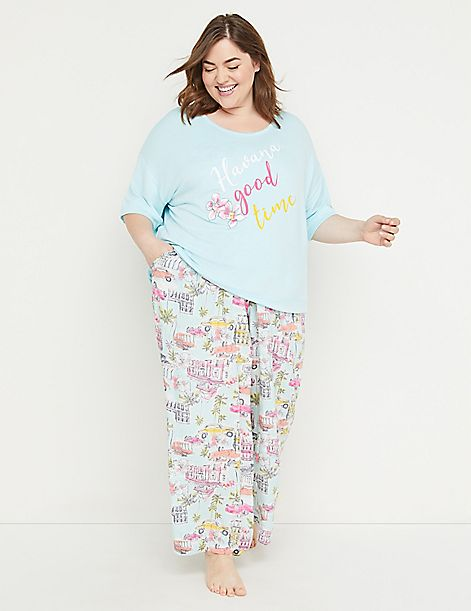 Printed Wide-Leg Sleep Pant