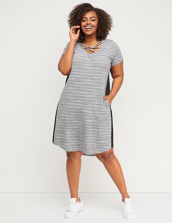 Strappy Mesh-Panel Active Dress