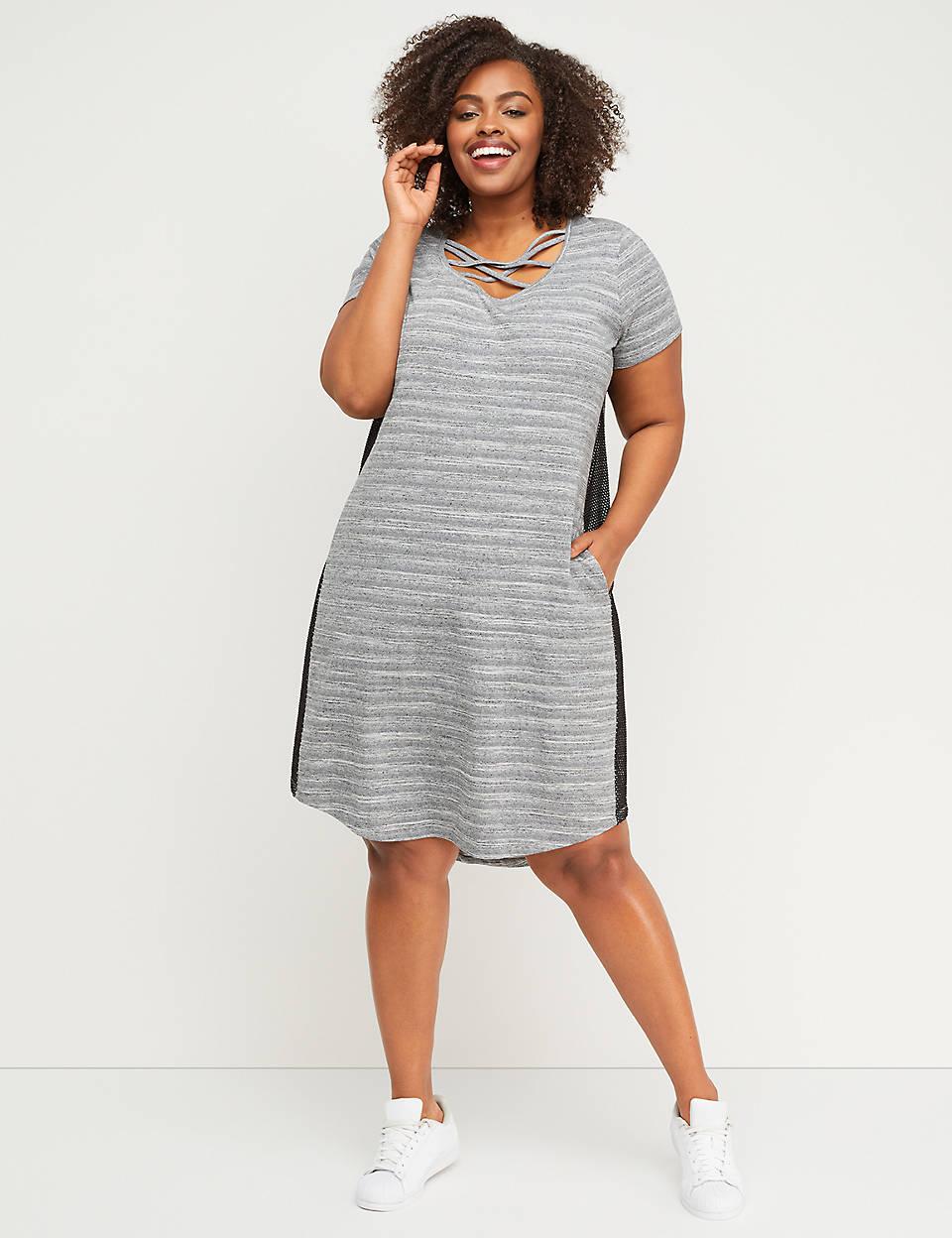 0e52b5e0e36 Strappy Mesh-Panel Active Dress
