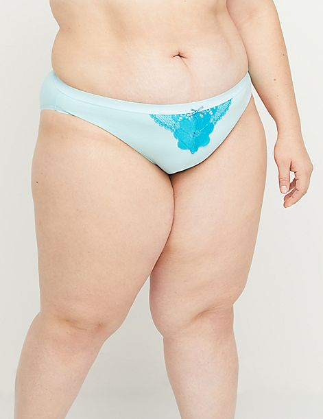 Cotton Bikini Panty with Lace Trim