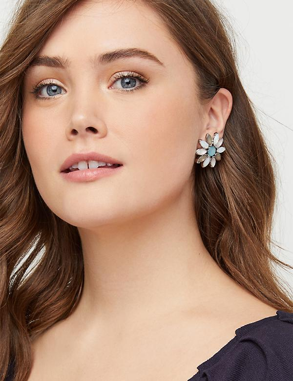 Floral Stone Statement Stud Earrings