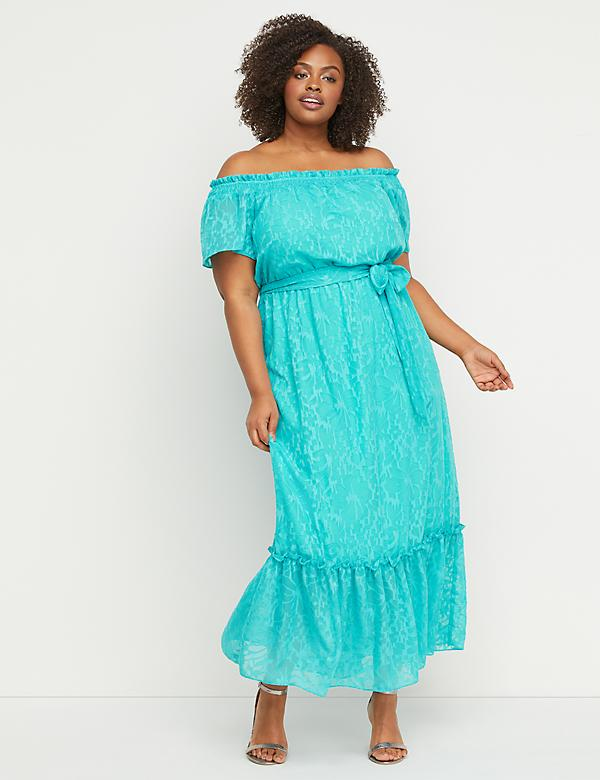 d3ba36d9e5e Off-the-Shoulder Fit   Flare Maxi