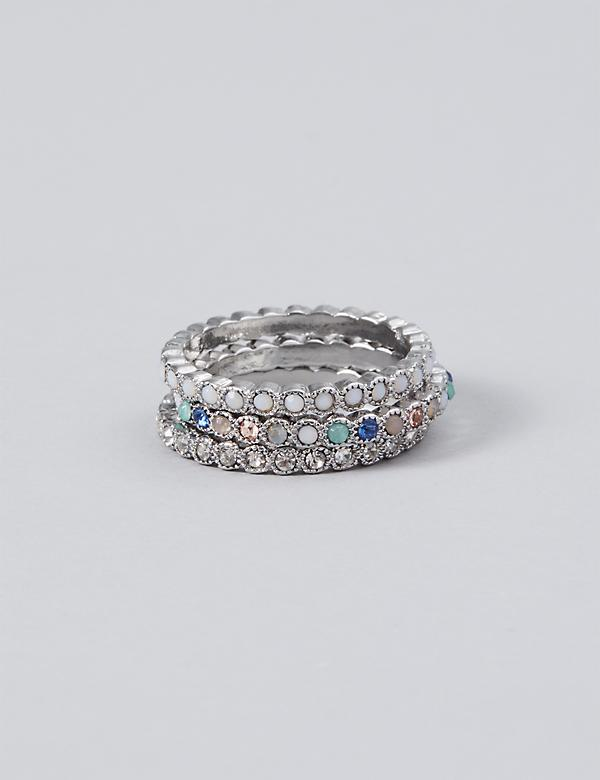 3-Stack Stone Ring Set