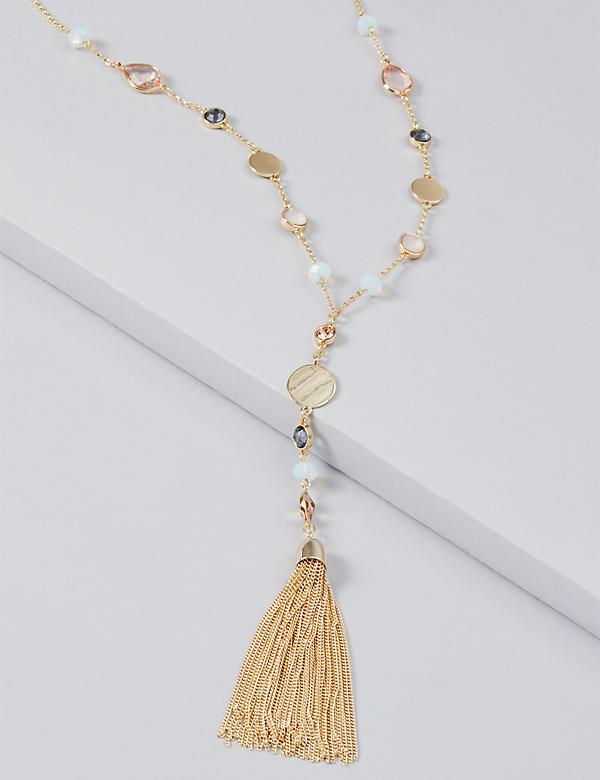 Multi-Stone Pendant Tassel Necklace