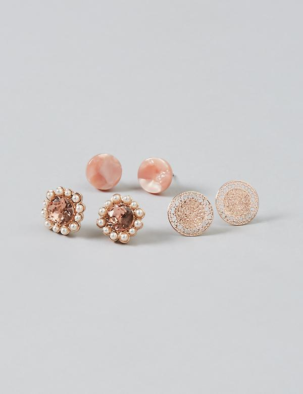 Stud Earrings 3-Pack - Resin & Filigree