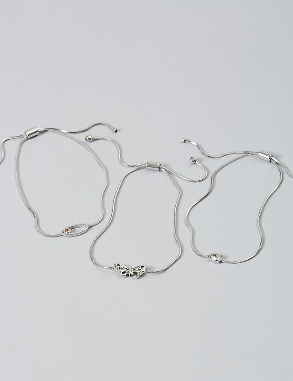 3-Row Butterfly Bracelet Set