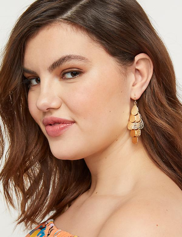 Textured Coin Chandelier Earrings