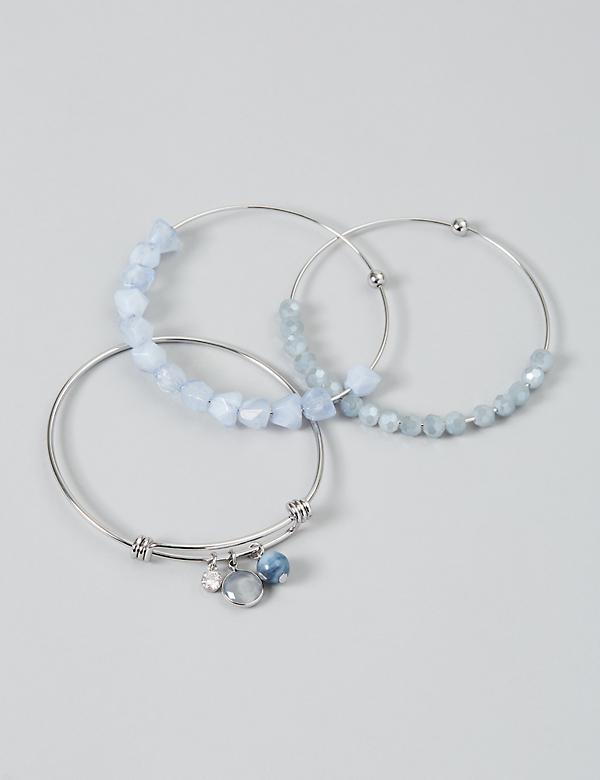 3-Row Beaded Bangle Set