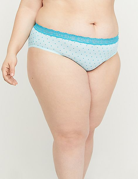 No-Show Hipster Panty with Logo Lace Waist