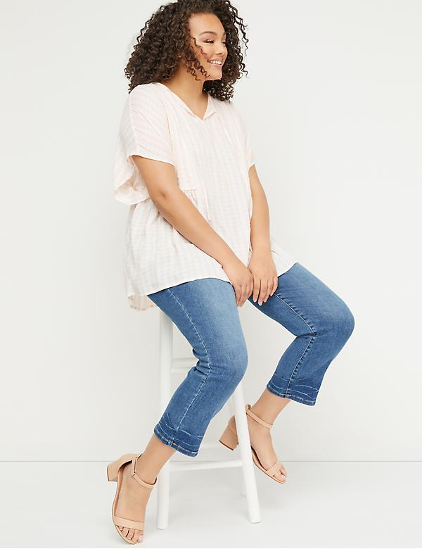 High Rise Straight Crop Jean - Hem Detail