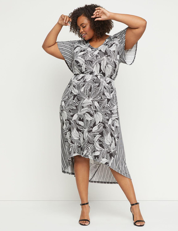 Petite Printed High-Low Midi Dress