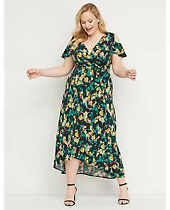 9ac0a300f8 image of Faux-Wrap Maxi Fit   Flare Dress with sku 355514