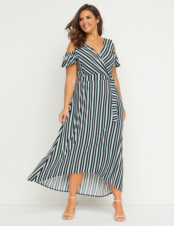 Petite Faux-Wrap Maxi Fit & Flare Dress