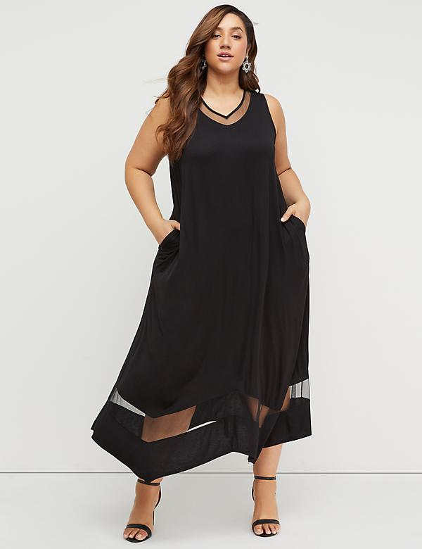 Plus Size Party Dresses. Mesh Inset Maxi Dress e94e56251b45