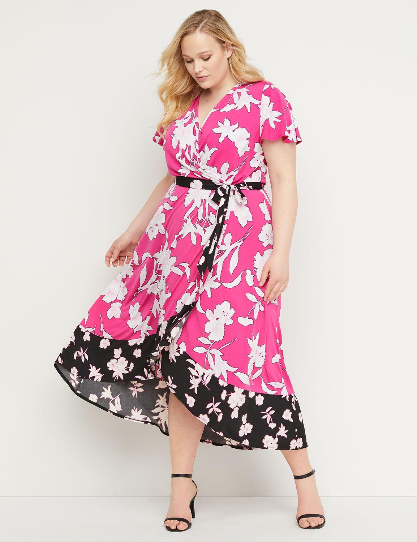 Petite Floral Faux-Wrap Midi Dress