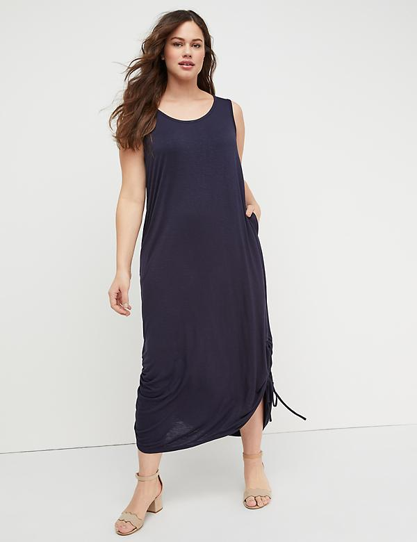 Side-Ruched Midi Dress