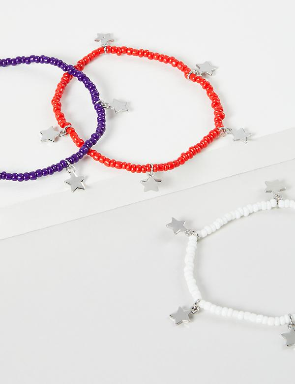 3-Row Red, White & Blue Stretch Bracelet Set