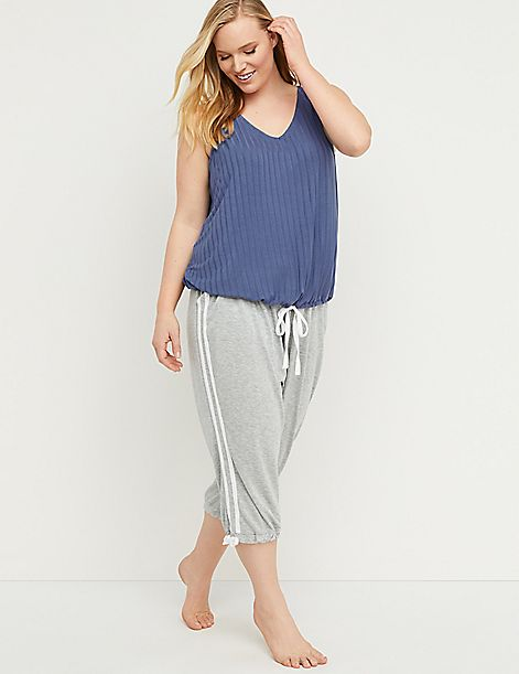 Striped Cropped Sleep Jogger
