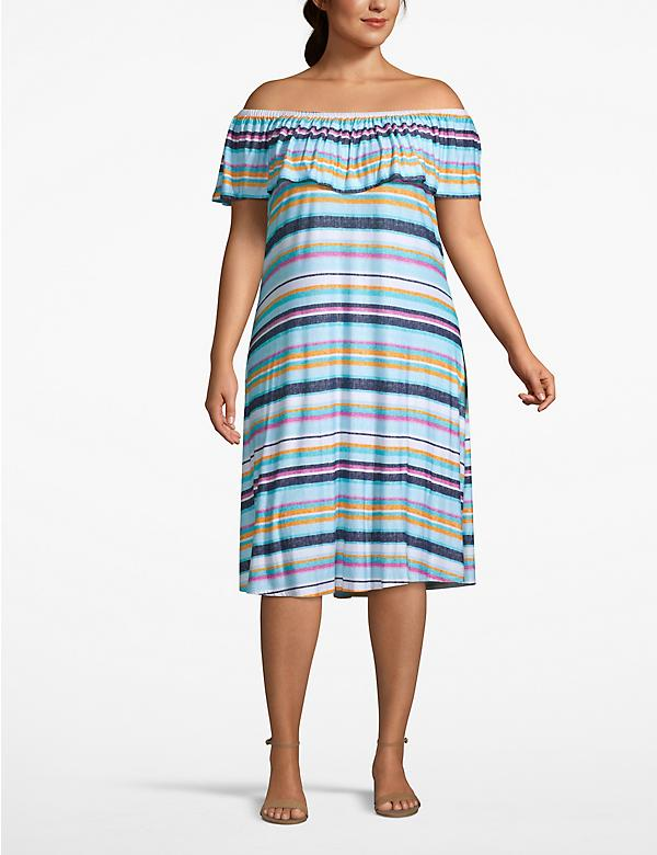 Printed Off-the-Shoulder Swing Dress