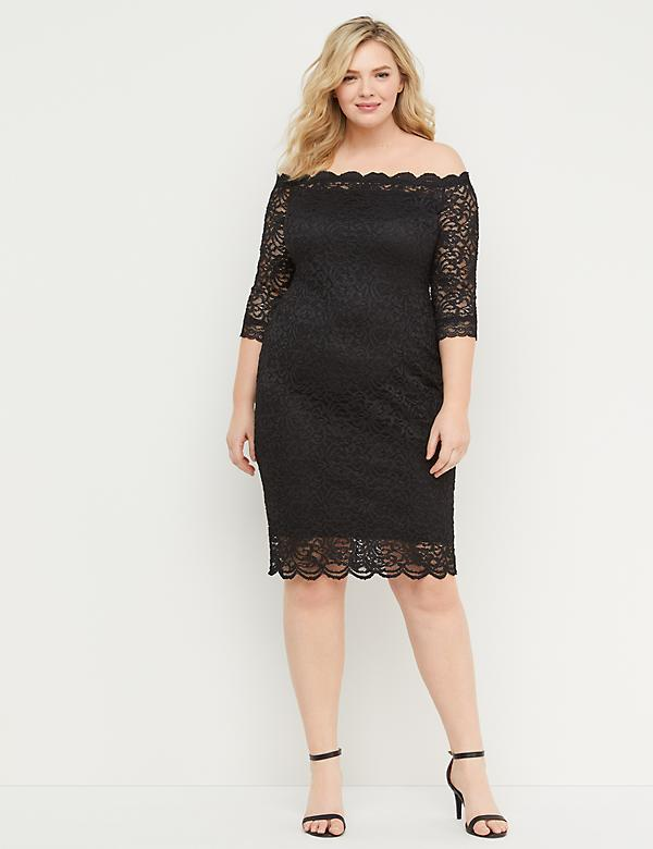 Off-the-Shoulder Lace Sheath Dress