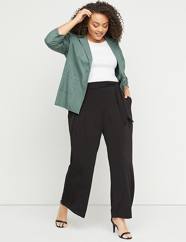 Pleated Wide Leg Pant - Belted Pull-On Matte Jersey