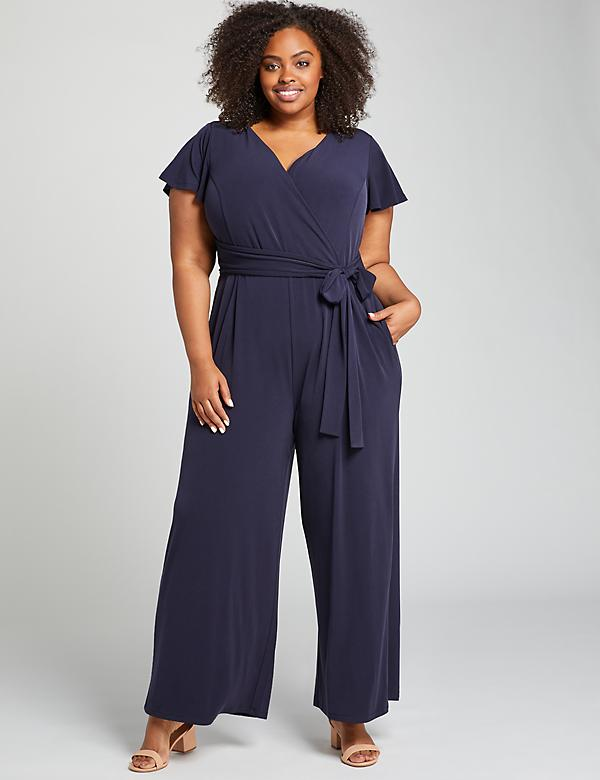 Flutter-Sleeve Faux-Wrap Jumpsuit