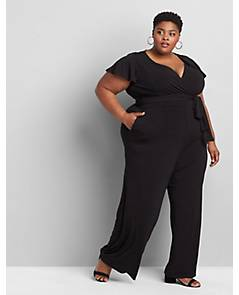 5be47225b40 image of Flutter-Sleeve Faux-Wrap Jumpsuit with sku 355659
