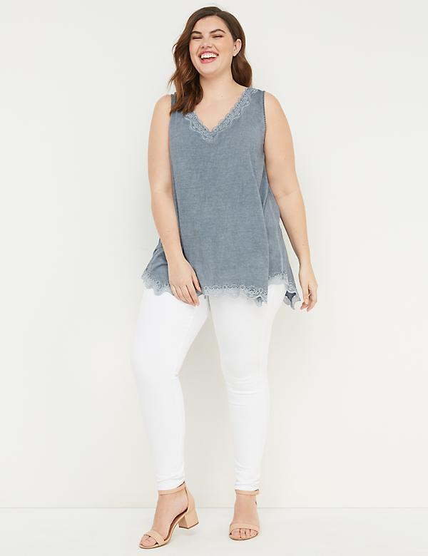Washed Lace-Trim Swing Tank